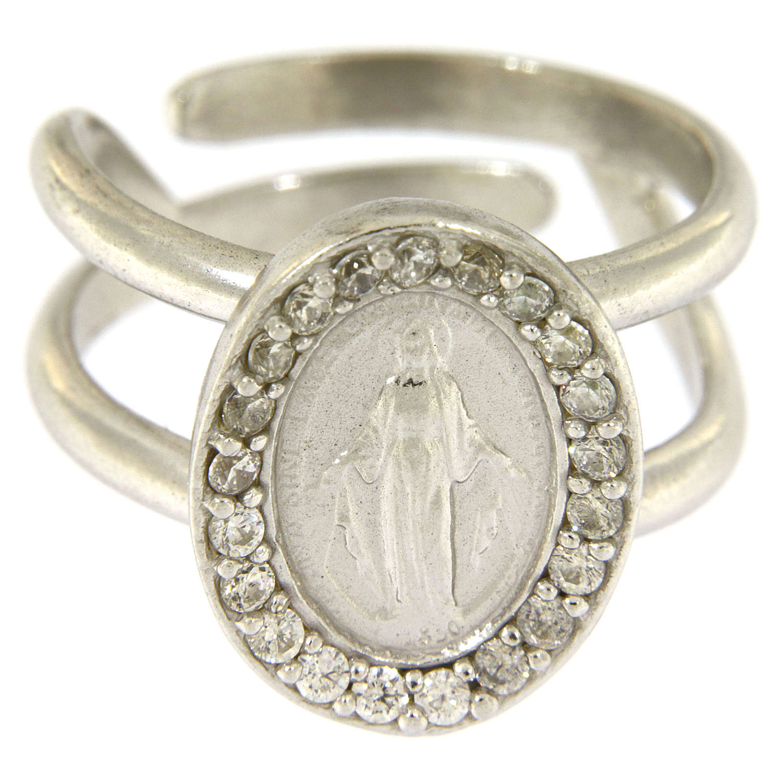 Miraculous Medal ring in sterling silver with transparent zircons 3
