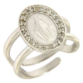 Miraculous Medal ring in sterling silver with transparent zircons s1