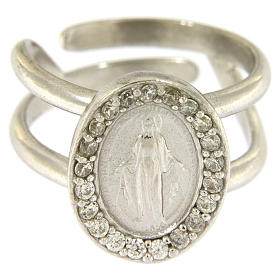 Miraculous Medal ring in sterling silver with transparent zircons s2