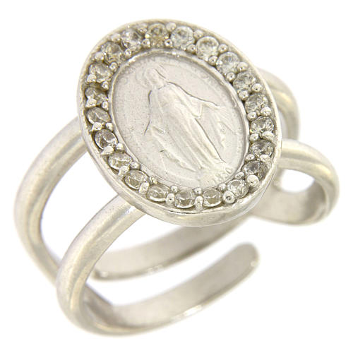 Miraculous Medal ring in sterling silver with transparent zircons 1