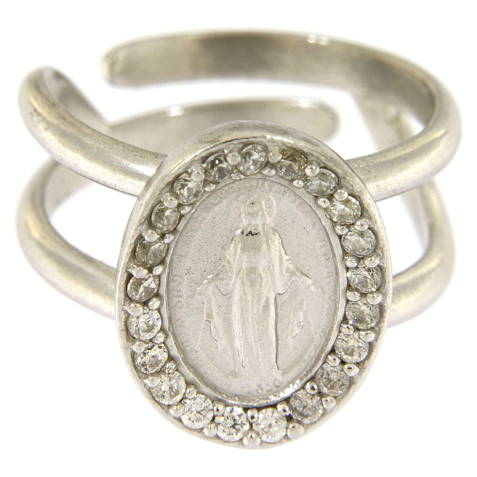 Anillo plata 925 con Virgen Milagrosa y zircones blancos 3