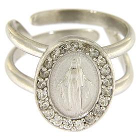 Anello argento 925 con Madonna Miracolosa e zirconi bianchi s2