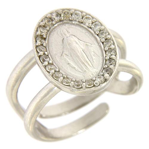 Anello argento 925 con Madonna Miracolosa e zirconi bianchi 1