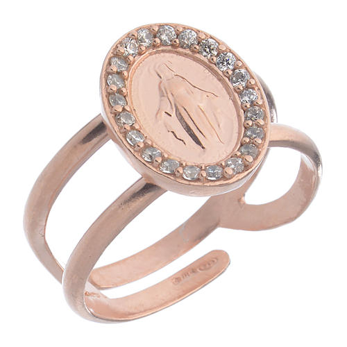 Miraculous Medal ring in pink 925 silver with transparent zircons 1