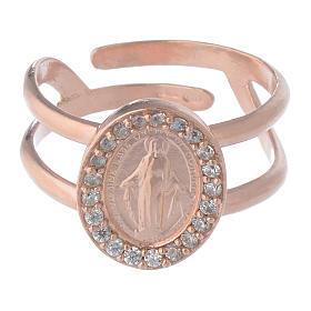 Anello argento 925 rosé e zirconi bianchi con Madonna Miracolosa s2