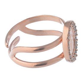 Anello argento 925 rosé e zirconi bianchi con Madonna Miracolosa s3