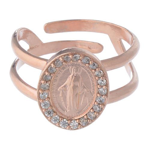 Anello argento 925 rosé e zirconi bianchi con Madonna Miracolosa 2