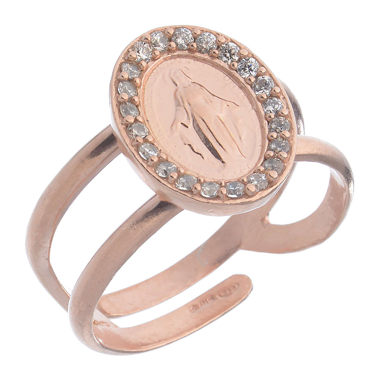 Miraculous Medal ring in pink 925 silver with transparent zircons 3