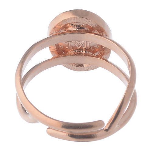 Miraculous Medal ring in pink 925 silver with transparent zircons 5