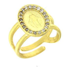 Anel prata 925 Medalha Milagrosa com zircões brancos banho ouro