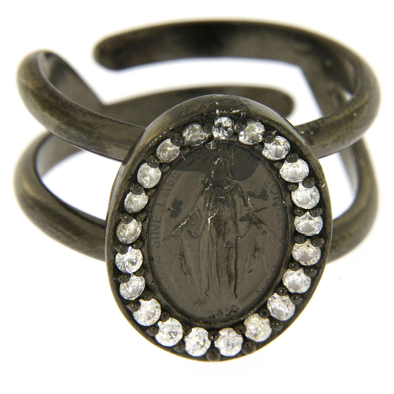 Anello argento 925 color nero Madonna Miracolosa con zirconi bianchi 3