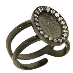 Anello argento 925 color nero Madonna Miracolosa con zirconi bianchi s1