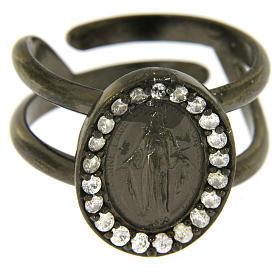 Anello argento 925 color nero Madonna Miracolosa con zirconi bianchi s2