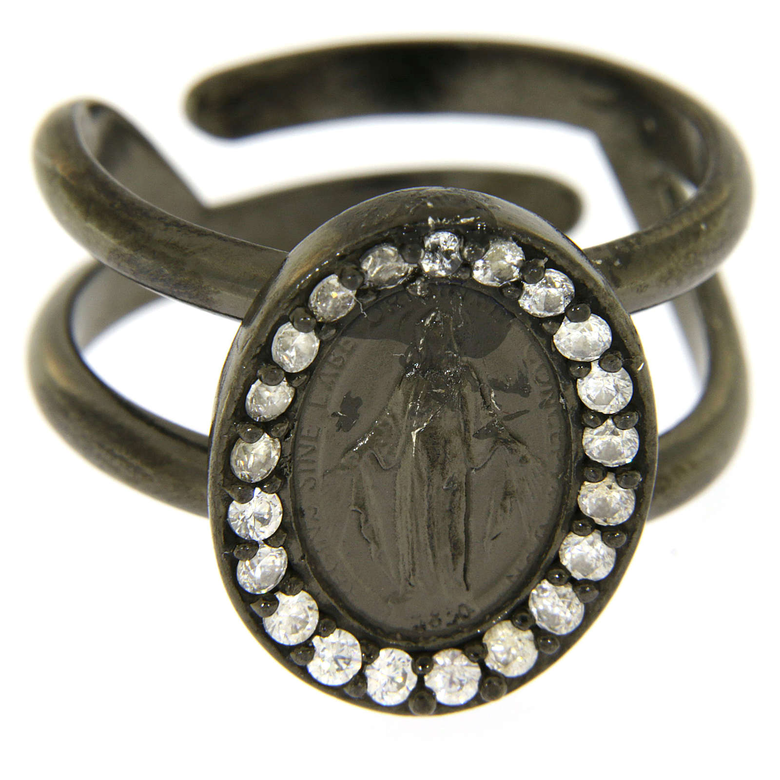 Miraculous Medal ring in black 925 silver with transparent zircons 3