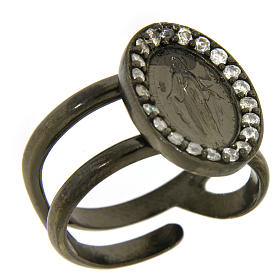 Miraculous Medal ring in black 925 silver with transparent zircons s1