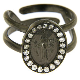 Miraculous Medal ring in black 925 silver with transparent zircons s2