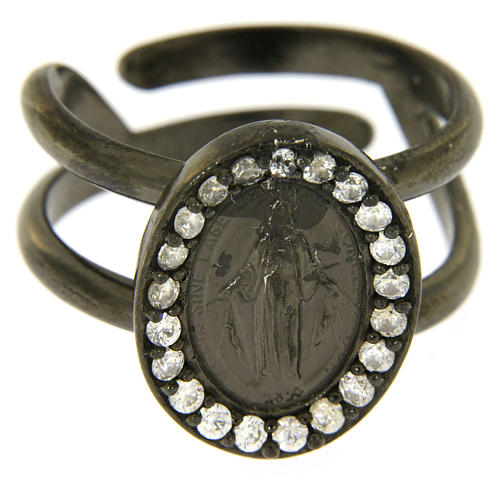 Miraculous Medal ring in black 925 silver with transparent zircons 2