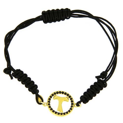 Bracciale argento 925 medaglietta croce Tau color oro e zirconi neri cordino regolabile nero 1