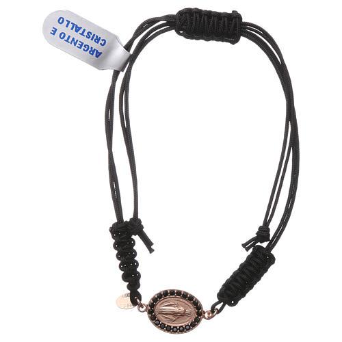Pulsera pequeña medalla Virgen Milagrosa plata 925 con zircones negros y color rosado y cuerda negra 1