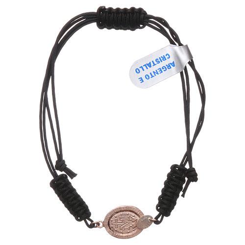 Pulsera pequeña medalla Virgen Milagrosa plata 925 con zircones negros y color rosado y cuerda negra 2