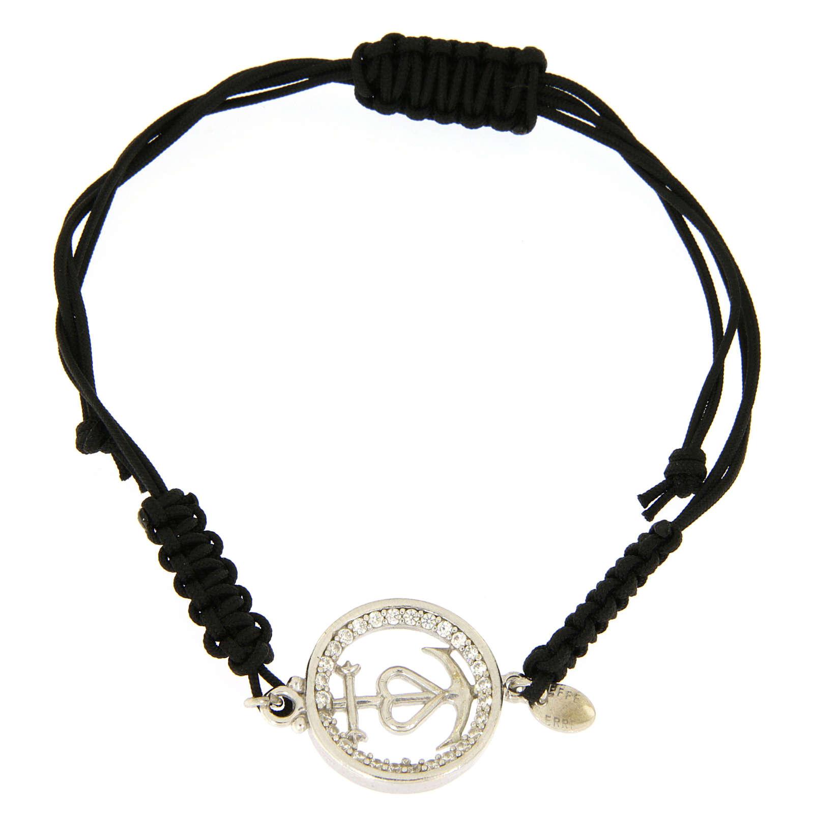 Bracciale medaglia traforata fede speranza carità arg. 925 zirc. bianchi corda nera 4