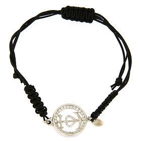Bracciale medaglia traforata fede speranza carità arg. 925 zirc. bianchi corda nera s1