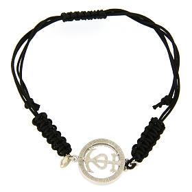 Bracciale medaglia traforata fede speranza carità arg. 925 zirc. bianchi corda nera s2