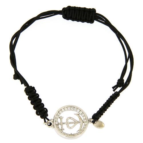 Bracciale medaglia traforata fede speranza carità arg. 925 zirc. bianchi corda nera 1
