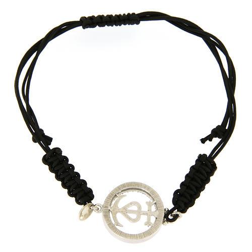 Bracciale medaglia traforata fede speranza carità arg. 925 zirc. bianchi corda nera 2