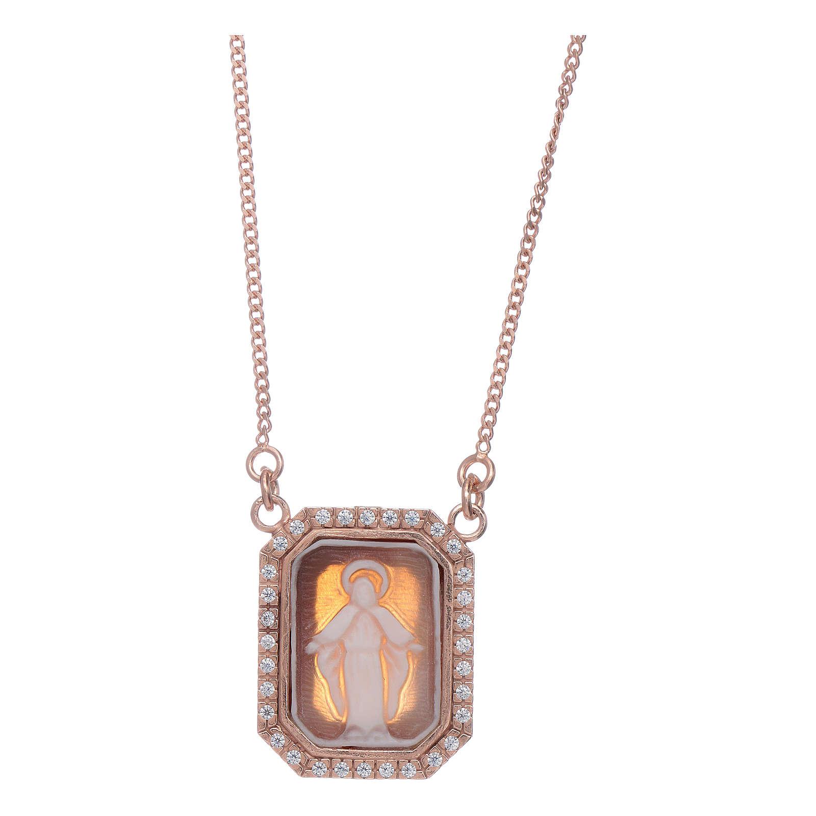 Gargantilla Virgen Milagrosa camafeo Plata rosada 4