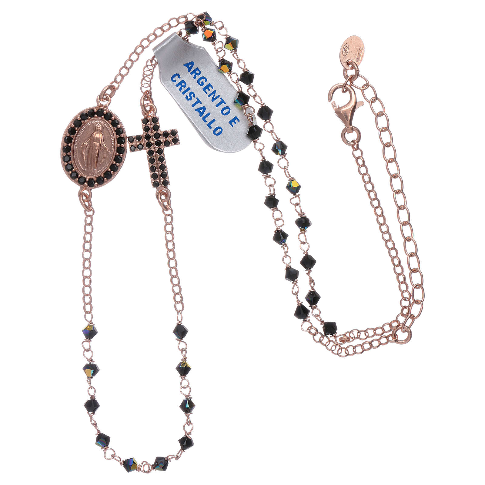 Our Lady of Miracles necklace with cross made of 925 sterling silver finished in rosè and zircons 4