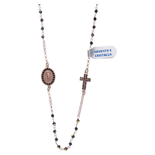 Our Lady of Miracles necklace with cross made of 925 sterling silver finished in rosè and zircons 1
