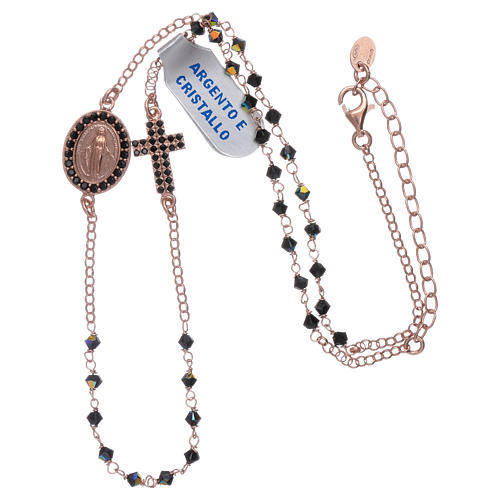 Our Lady of Miracles necklace with cross made of 925 sterling silver finished in rosè and zircons 3