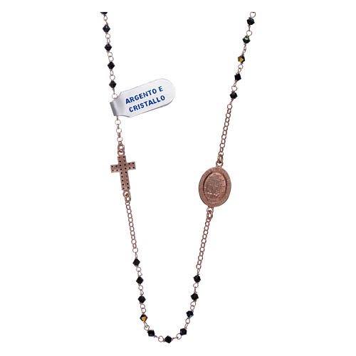 Collar medalla Milagrosa cruz zircones plata 925 rosada 2