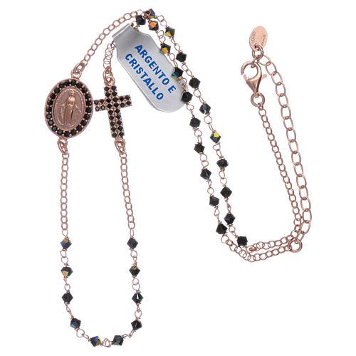 Collar medalla Milagrosa cruz zircones plata 925 rosada 3