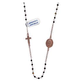Collier médaille Miraculeuse croix zircons argent 925 rosé s2