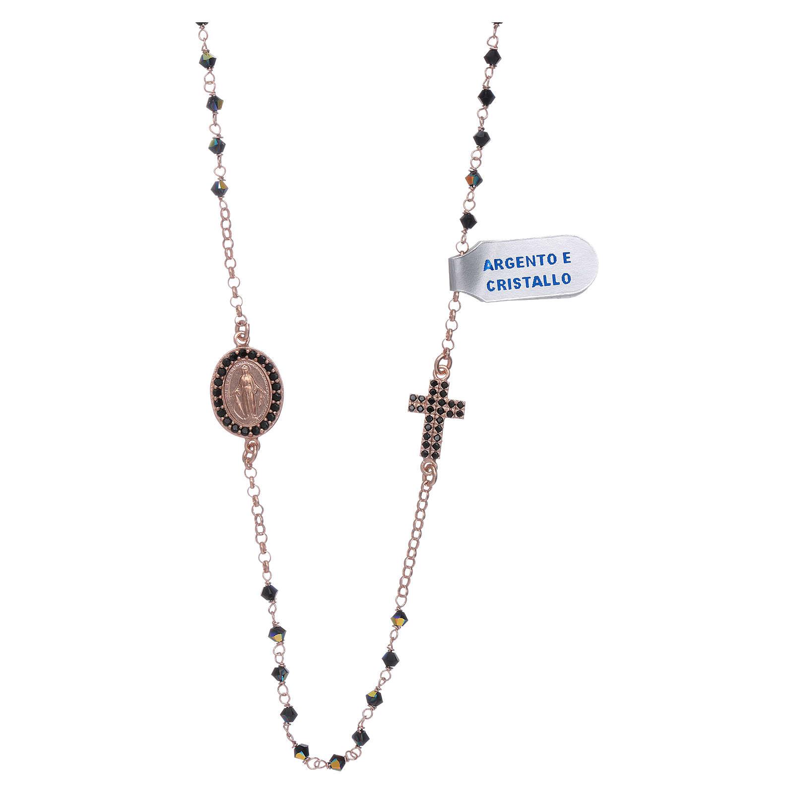 Collana medaglia Miracolosa croce zirconi argento 925 rosé 4