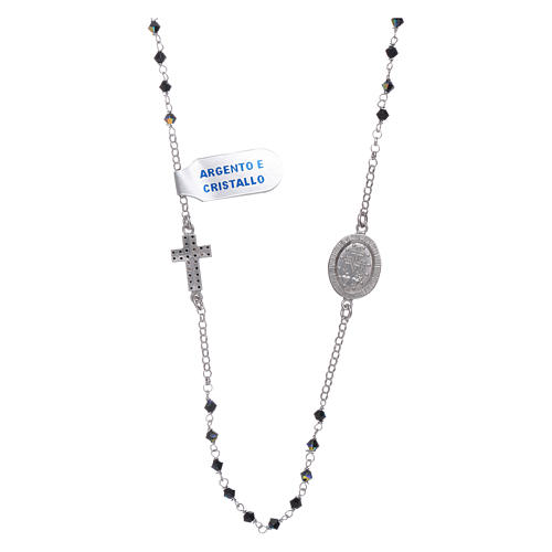 Our Lady of Miracles necklace with medal and cross in silver and black zircons 2