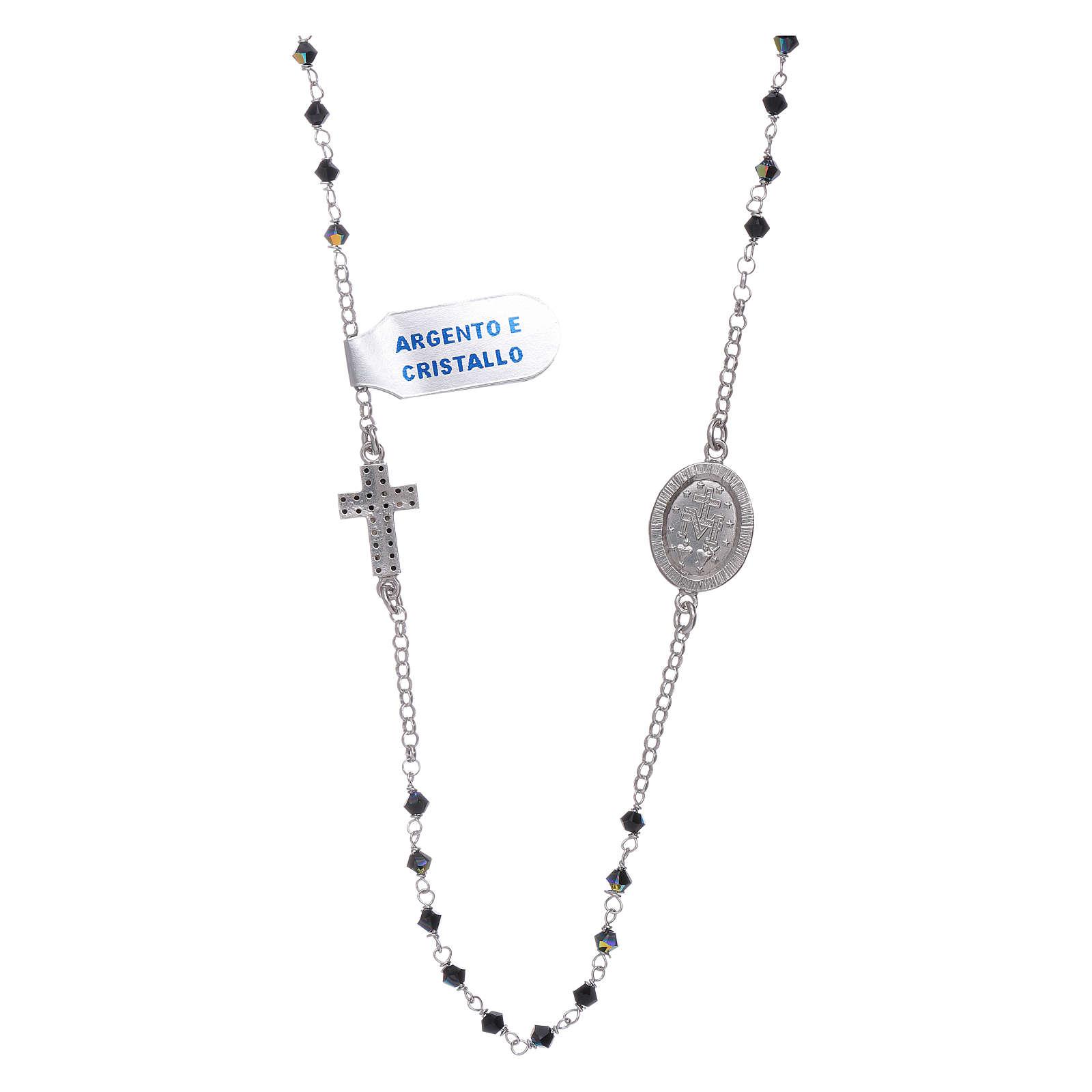 Collar medalla Milagrosa y cruz Plata zircones negros 4