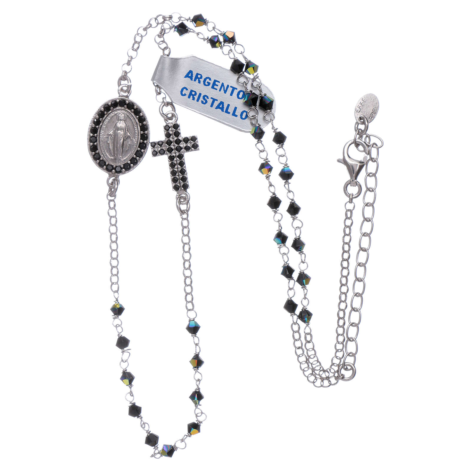 Our Lady of Miracles necklace with medal and cross in silver and black zircons 4