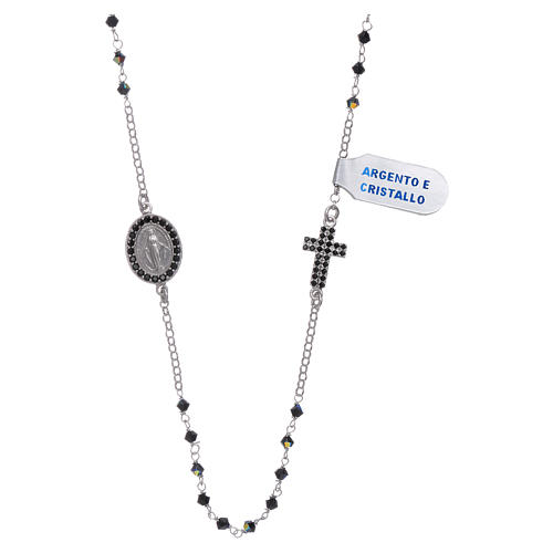 Our Lady of Miracles necklace with medal and cross in silver and black zircons 1