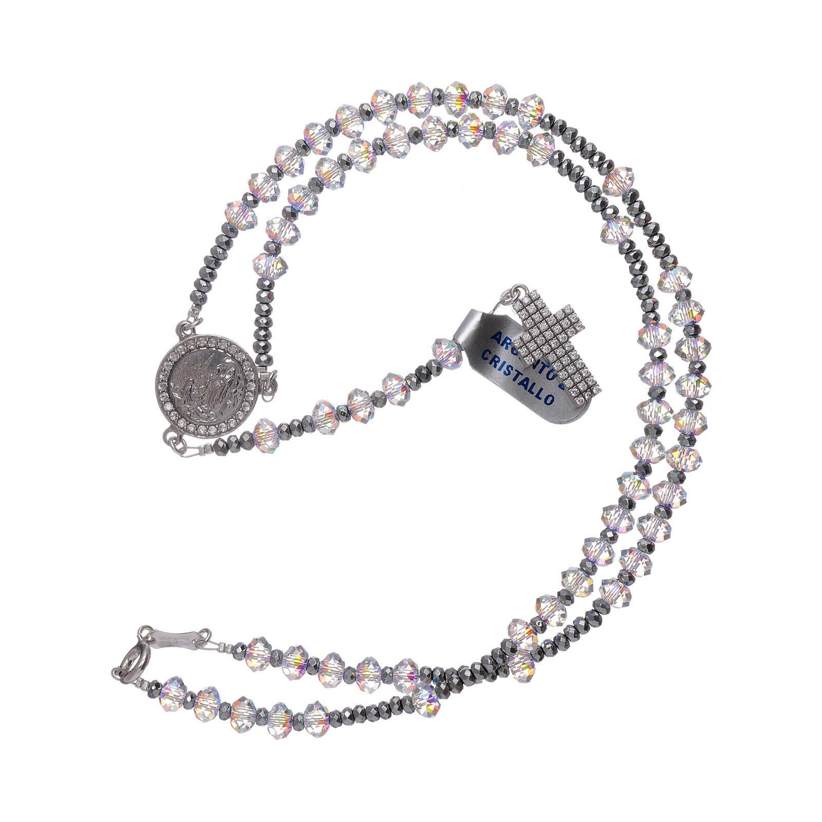Chapelet cristaux Swarovski à facettes 6 mm argent 925 zircons blancs 4