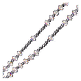 Rosario cristalli Swarovski briolè 6 mm argento 925 zirconi bianchi s3
