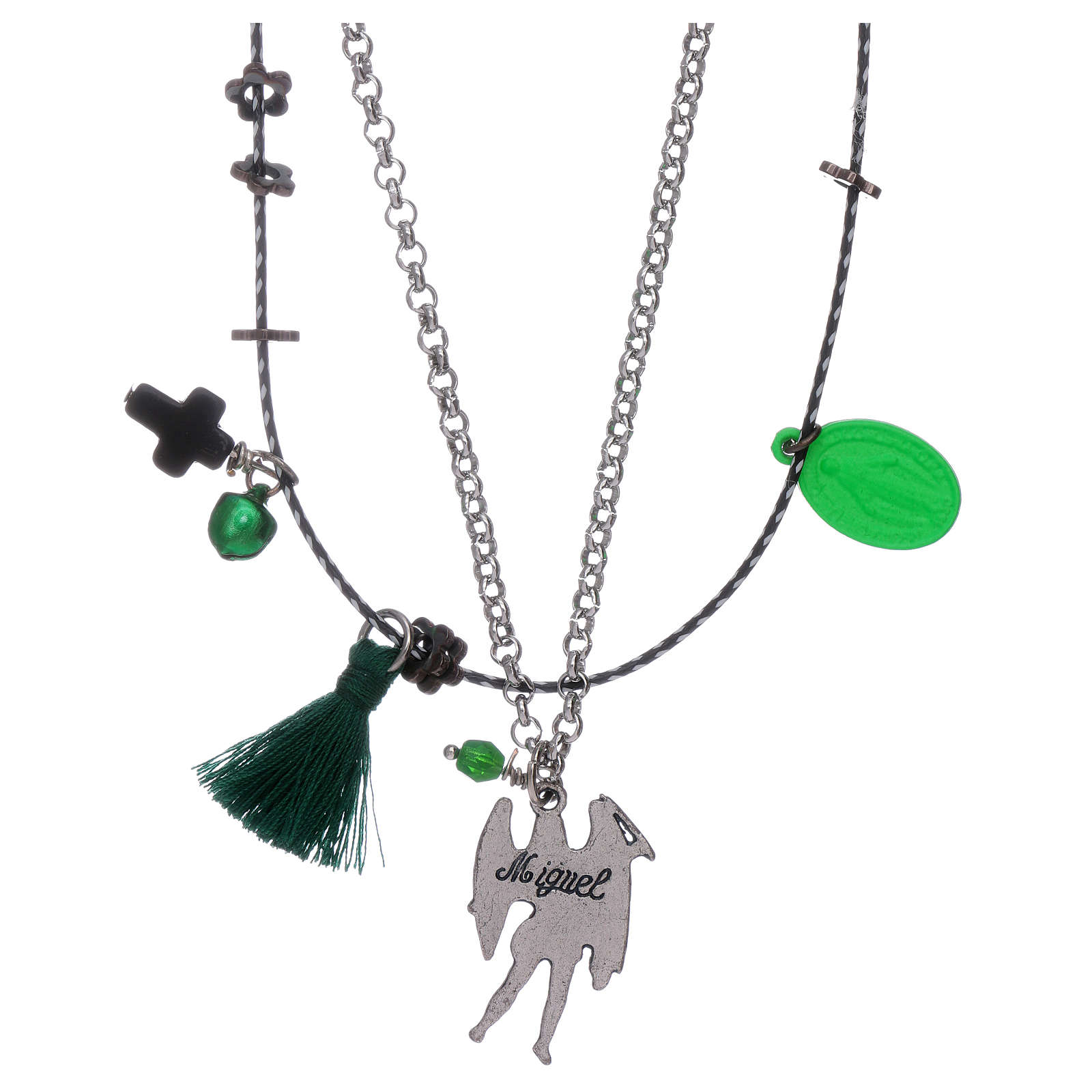Collar doble San Miguel Arcángel y Virgen Milagrosa 4