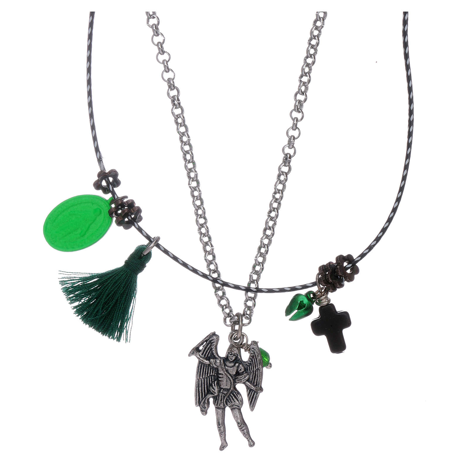 Double necklace Saint Archangel Micheal and Our Lady of Miracles 4