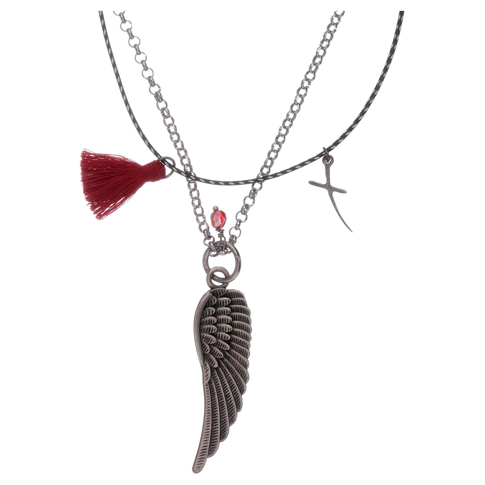 Collana Ala di angelo catena e corda rosso 4