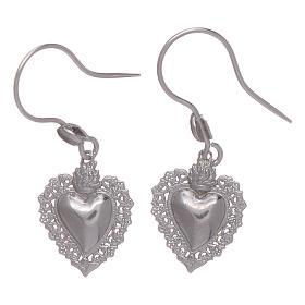 Earrings in 925 sterling silver with votive heart s1