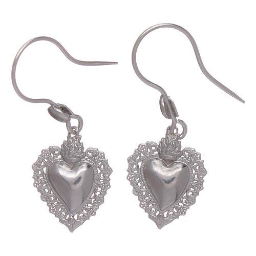 Earrings in 925 sterling silver with votive heart 1