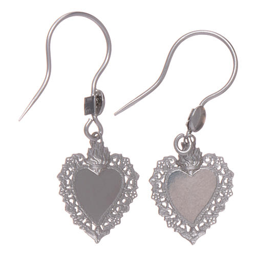 Sterling silver earrings with votive heart 2