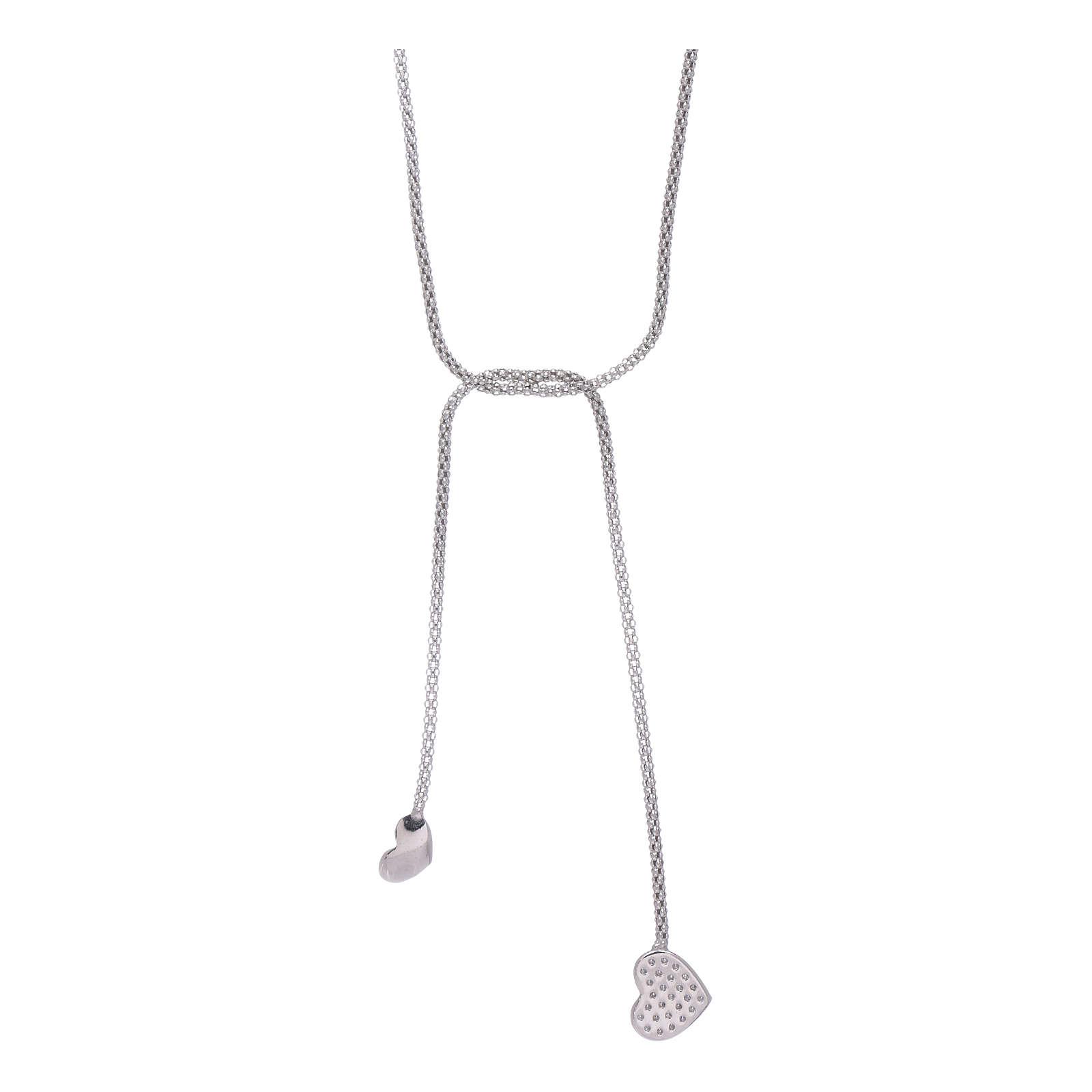 Collana AMEN modello abbraccio argento 925 cuori e zirconi bianchi 4